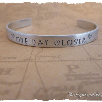 Long Distance Relationship - One Day Closer - Hand Stamped Bracelet Cuff
