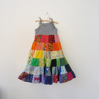 Rainbow dress patchwork twirly twirler bright colourful sundress custom handmade size 4 - 10 made to measure CUSTOM ORDER