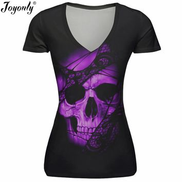 Women 3D T-Shirt Pink Skull Lace Printed