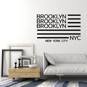 Vinyl Wall Decal American Flag Brooklyn New York City NYC Stickers Mural (g651)