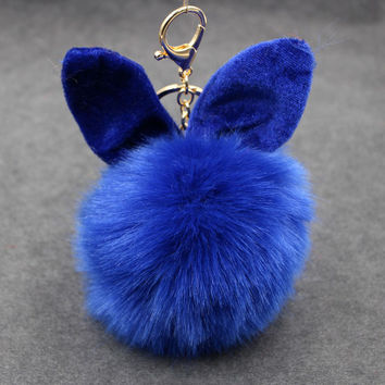 Rabbit Bunny Keychain Fashion Accessories  Funny  Key Chain Pompon
