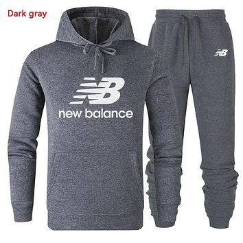 New Balance New fashion letter print couple hooded long sleeve sweater and pants two piece suit Dark Gray
