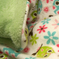 Toddler Owl Blanket - READY TO SHIP - 36 x 40 Baby Blanket - Soft Baby Blanket - Owl Blankie - Chinelle and Flannel Blanket