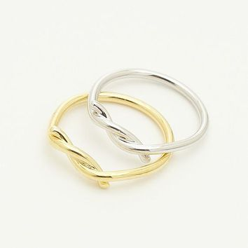 Tie Rope Ring / tie ring, knot ring, love knot ring, infinity knot ring, thick twist ring, adjustable ring / R165