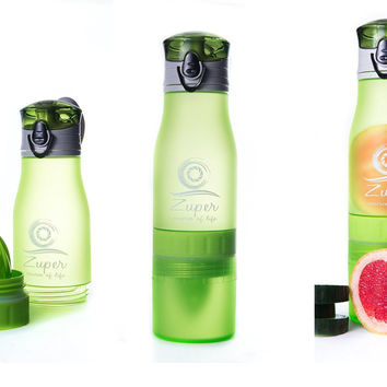 Fruit Infused Water Bottle - Fruit Infuser - 17/24 Oz. - Zuper - Juice Squeezer - Sport Water Bottle - Tea Infuser - Healthy Cold and Hot Drinks - Tritan Plastic