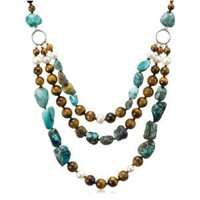 """Tiger Eye, Turquoise and White Freshwater Cultured Pearl Three-Row Necklace, 19.5+4"""" Extender"""