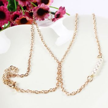 Risque Pearl Belly Gold Waist Body Chain for Women by Ritzy