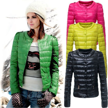 Women's Round Neck Candy Color Winter Down Short Coat  18939