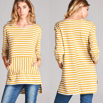 Mustard & Ivory Striped Tunic