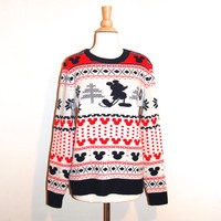 Mickey Mouse Sweater Vintage Disney Christmas Tacky Sweater Red Navy Rare Size Large