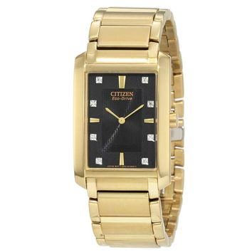 Citizen BL6052-51E Men's Palidoro Eco-Drive Gold Tone Stainless Steel Black Dial Watch