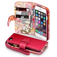 iPhone 6S Case, Terrapin [Floral Interior] Premium PU Leather Wallet Case with Card Slots, Cash Compartment and Detachable Wrist Strap for iPhone 6 / 6S (Red with Lily Floral Textile Interior)