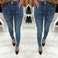 Fashion All-match Beading Slim-fit Pants Jeans Trousers Women Pencil Pants