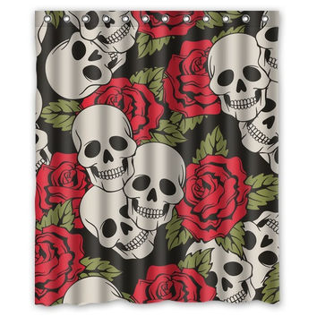"High Quality Modern Design Polyester Shower Curtain Waterproof Print Funny Skull Flower Bath Curtains 60"" x 72"""