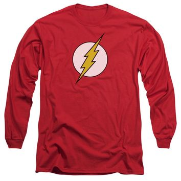 Dc - Flash Logo Long Sleeve Adult 18/1 Officially Licensed Shirt