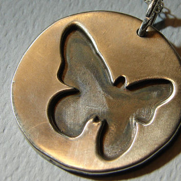 Shadow Box Butterfly Medallion Handmade from Sterling Silver
