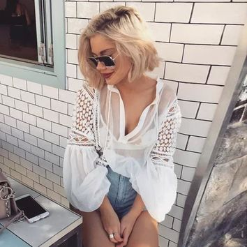 Sexy Perspective White Shirt Women 2017 Summer Hollow Out Patchwork Vintage Black Blouse Lace Up Crochet Tops Blusas Feminina