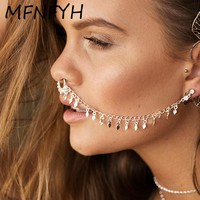 MFNFYH Nose Rings and Studs Fake Septum Piercing Summer U Shape Nose Hoop Fake Nose Rings Studs Ear Chain Women Body Jewelry