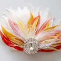 Prom Hairpiece, Feather Fascinator, Wedding Hairpiece, Ivory, Orange, Coral, Gold, Pink, Hair Clip