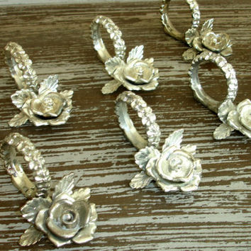 Vintage Pewter Silver Rose Napkin Rings, Set of 8, Cast Metal Flower Napkin Holders, Rustic Shabby Cottage Chic, Tarnished