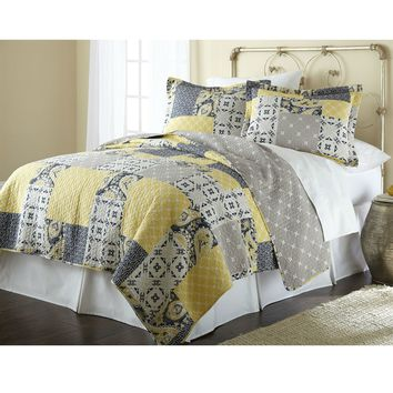 Twin Size Cotton Patchwork Quilt Set Yellow Grey Navy