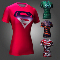 New Women Superman Armour Shirts Compression T Shirt Superhero Bodybuilding  Fitness Tights Under Tees Camiseta Feminina