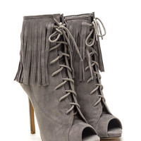 On The Fringe Faux Suede Booties