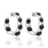 White Diamond & Agate Hoop Earrings | Moda Operandi