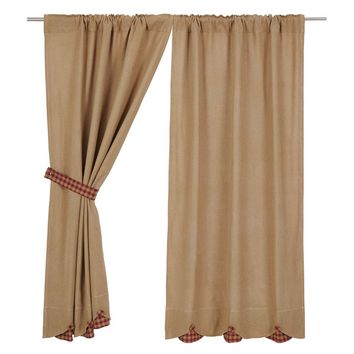 Burlap with Burgundy Check Short Panel Curtains