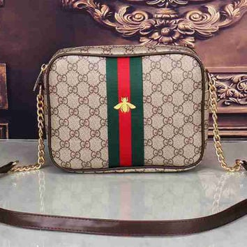 Gucci Women Leather Shoulder Bag Crossbody Satchel Bee