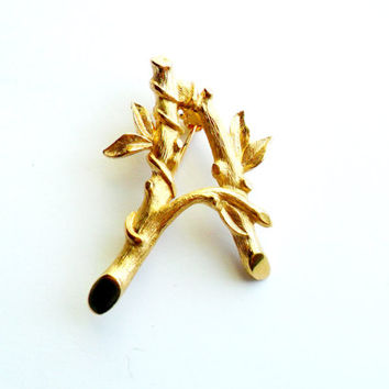 Vintage Monogram A Initial Brooch - Sarah Coventry Signed - Marked Tree Branch - Bamboo - Vine - Woodland