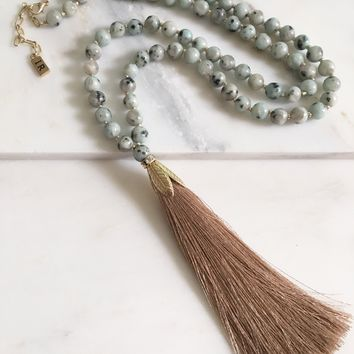 In Alignment Beaded Tassel Necklace - African Turquoise