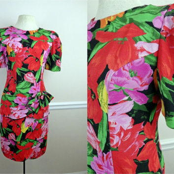 Vintage 80s Party Dress // Bright Florals // Layered Skirt // Bow and Puff Sleeves // Medium