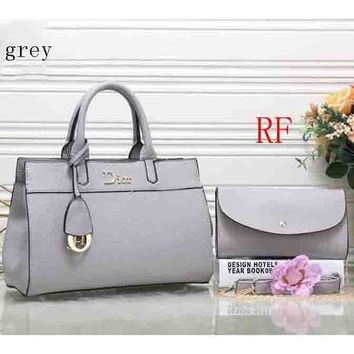 DCCKB62 Dior 2018 latest leather female trendy handbag shoulder bag (Two sets) F-RF-PJ Grey