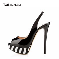 Peep toe Platform High Heel Pumps Extremely High Dress Shoes