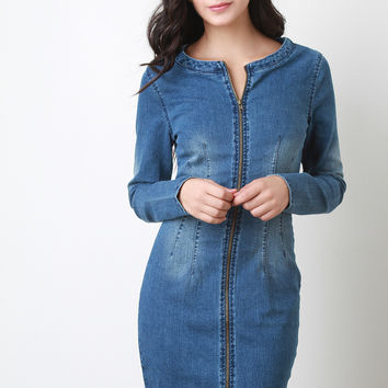 Zip up Denim Back Cutout Long Sleeves Midi Dress
