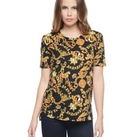 Pitch Black Combo Baroque Cheetah Fashion Graphic Tee by Juicy Couture,