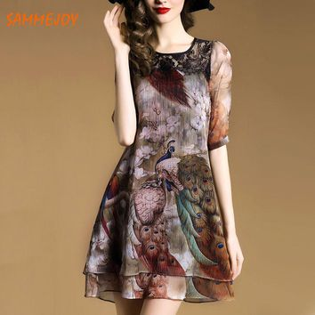 S-2XL SAMMEJOY 2017 summer dress Original Design Peacock Printing women dress mini fashion Style thin autumn sexy vestidos 8096