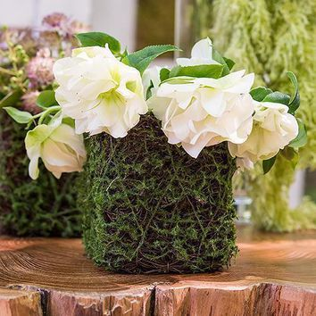 Faux Moss and Wicker Mini Favor Planter with Liner (Pack of 4)