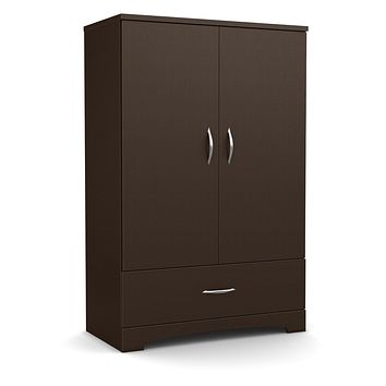 Contemporary 2-Door Armoire Wardrobe Cabinet with Drawer in Chocolate Brown
