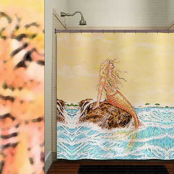 golden sea siren art nude mermaid shower curtain bathroom decor fabric kids bath white black custom duvet cover rug mat window