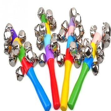 Bulk Sale Colorful Rainbow Hand Held Bell Stick Wooden Percussion Musical Toy for KTV Party Kids Game Wholesale Retail