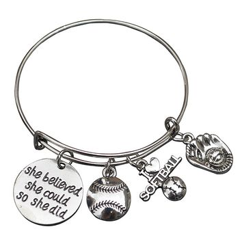 Softball She Believe She Could So She Did Bangle Bracelet