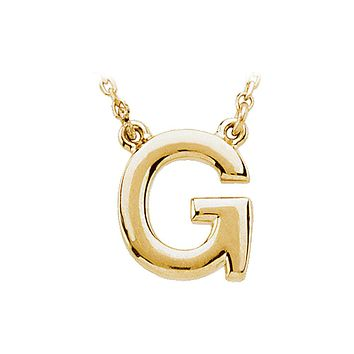 Block initial Necklace in 14k Yellow Gold, Letter G