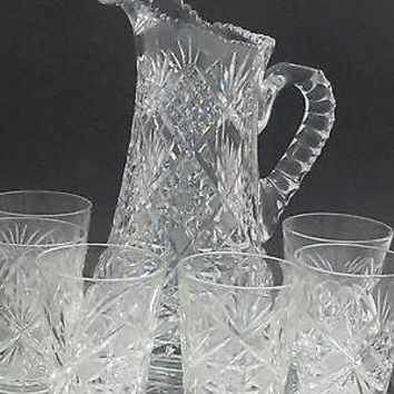 American Brilliant Period Cut Glass water Pitcher plus 6 glasses Antique abp