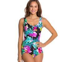 Maxine Waikiki Shirred Front Girl Leg One Piece at SwimOutlet.com