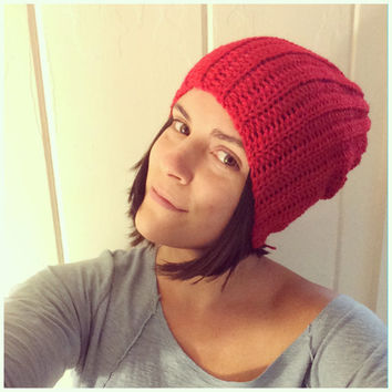 Slouchy Hat Beanie Scarlett Red Crochet Hat Perfect Fit Slouchy