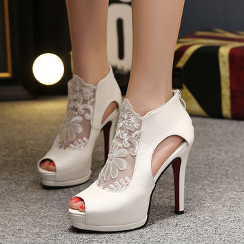 High Heel Peep Toe Lace Hollow Out Korean Sandals = 4804966276