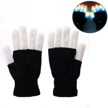 CREY6F Flashing Fingertip Light 7 Mode LED Gloves Mittens Costumes Rave Party Skating Riding Party Accessory