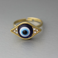 Evil eye ring, blue eveil eye, Protective ring, Gold eye ring, Silver eye ring, fortune ring, Evil Eye Ring in Gold